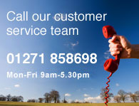 call customer services on 01271 858698